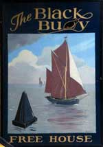 The pub sign. The Black Buoy, Wivenhoe, Essex