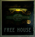 The pub sign. Hamilton Hall, City, Central London
