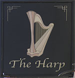 The pub sign. The Harp, Charing Cross, Central London