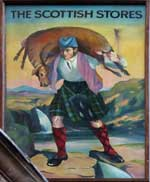 The pub sign. The Scottish Stores, Pentonville, Central London