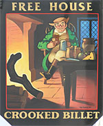 The pub sign. Crooked Billet, Colney Heath, Hertfordshire