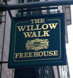 The pub sign. The Willow Walk, Victoria, Central London