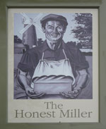 The pub sign. The Honest Miller, Brook, Kent