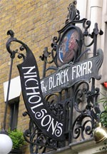 The pub sign. The Black Friar, Blackfriars, Central London