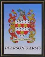 The pub sign. Pearson's Arms, Whitstable, Kent