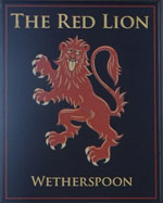 The pub sign. Red Lion, Petersfield, Hampshire