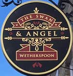 The pub sign. The Swan & Angel, St Ives, Cambridgeshire