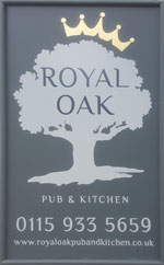 The pub sign. The Royal Oak, Radcliffe on Trent, Nottinghamshire