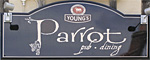 The pub sign. The Parrot (Young's), Canterbury, Kent