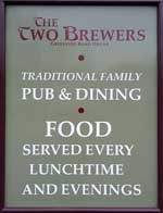The pub sign. The Two Brewers, Ongar (or Chipping Ongar), Essex