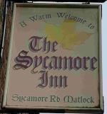 The pub sign. The Sycamore Inn, Matlock, Derbyshire