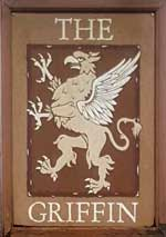 The pub sign. The Griffin, Godshill, Isle of Wight