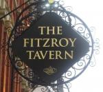 The pub sign. Fitzroy Tavern, Fitzrovia, Central London
