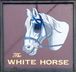 The pub sign. The White Horse, Hedgerley, Buckinghamshire