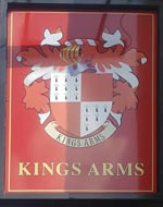 The pub sign. Kings Arms, Cheltenham, Gloucestershire