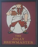 The pub sign. The Jolly Brewmaster, Cheltenham, Gloucestershire