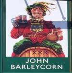 The pub sign. The John Barleycorn, Duxford, Cambridgeshire