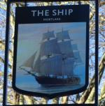 The pub sign. The Ship, Mortlake, Greater London