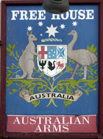 The pub sign. Australian Arms, Ramsgate, Kent