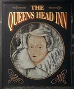 The pub sign. The Queens Head Inn, Monmouth, Gwent