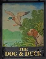 The pub sign. Dog & Duck, Winchmore Hill, Greater London