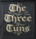 The pub sign. The Three Tuns, Canterbury, Kent
