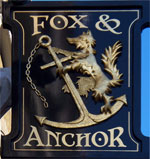 The pub sign. Fox & Anchor, Smithfield, Central London