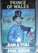 The pub sign. Prince of Wales, Merton, Greater London