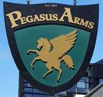 The pub sign. Pegasus Arms, Christchurch, New Zealand