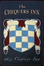 The pub sign. The Chequers Inn, Smarden, Kent