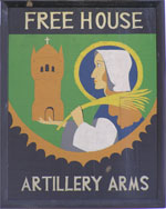 The pub sign. Artillery Arms, Ramsgate, Kent