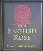 The pub sign. The English Rose, Luton, Bedfordshire