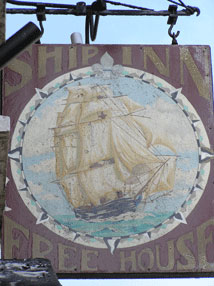 The pub sign. Ship Inn, Deal, Kent