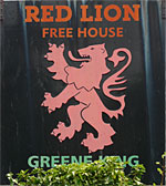 The pub sign. Red Lion, Stodmarsh, Kent