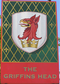 The pub sign. The Griffins Head, Chillenden, Kent