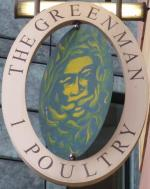 The pub sign. The Green Man, City, Central London